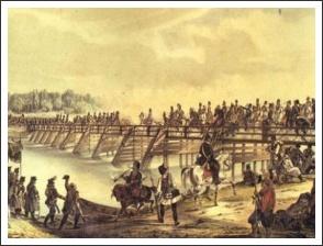 A horvát csapatok átkelnek a Dráván Varasdnál 1848. szeptember 11-én